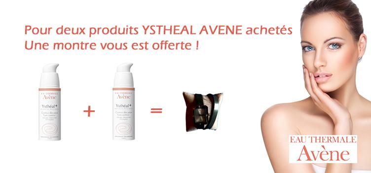 Bannière de l'offre promotionnelle de la pharmacie en ligne Parapharmacie Express sur les produits Ysthéal d'Avène.
