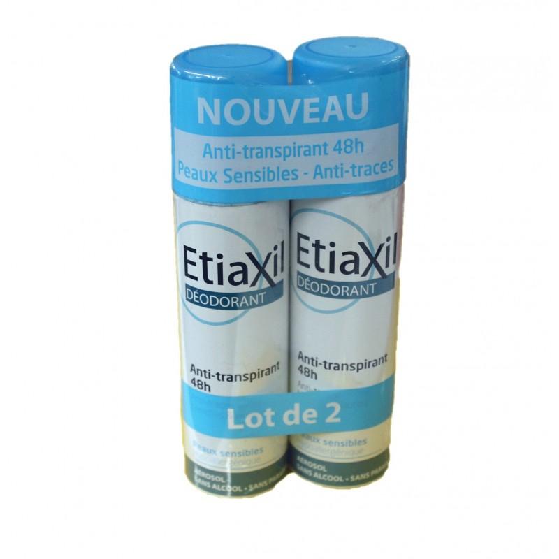 DEODORANT ANTI TRANSPIRANT 48H Peau sensible LOT DE 2 sprays de 150ML ETIAXIL
