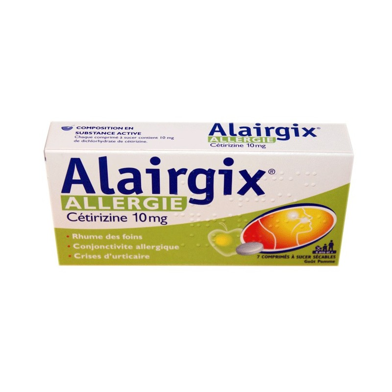 ALAIRGIX ALLERGIE CETIRIZINE 10MG 7 COMPRIMES A SUCER COOPER