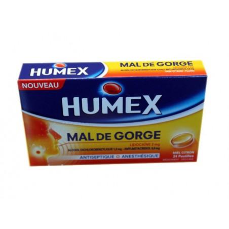 HUMEX MAL DE GORGE MIEL CITRON PASTILLES 24 PASTILLES URGO