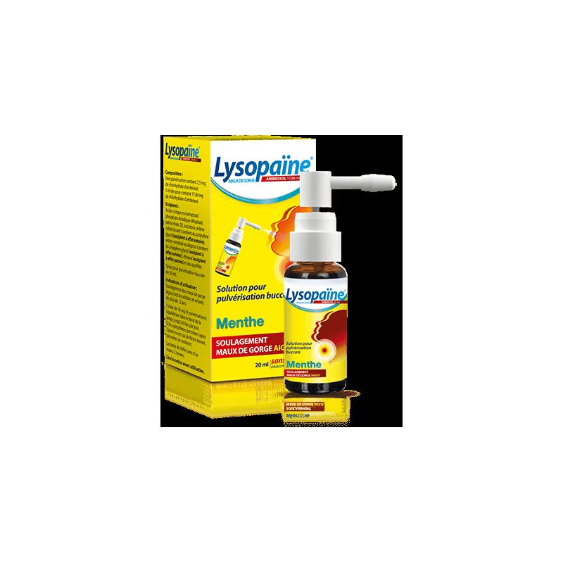 LYSOPAÏNE MAUX DE GORGE AMBROXOL MENTHE 17,86 mg/ml SANS SUCRE SANOFI
