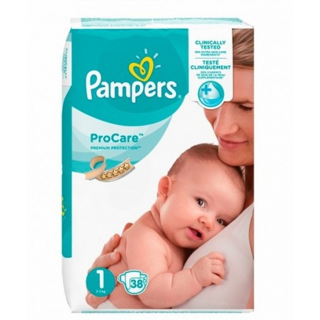 PRO CARE PREMIUM PROTECTION Taille 1 (2-5 KG) 38 COUCHES PAMPERS