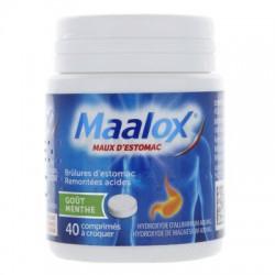 MAALOX MAUX D'ESTOMAC MENTHE 40 COMPRIMES A CROQUER SANOFI