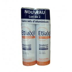 DEODORANT DOUCEUR 48H Peau sensible LOT DE 2 sprays de 150ML ETIAXIL