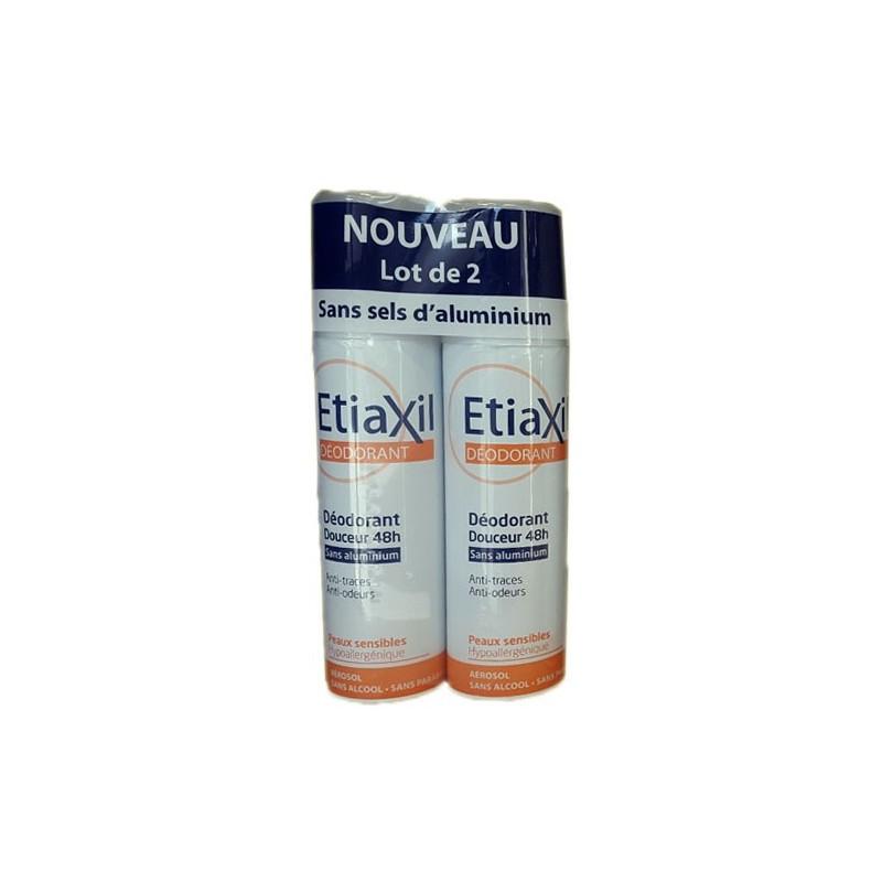 DEODORANT DOUCEUR 48H Peau sensible LOT DE 2 sprays de 150ML ETIAXIL