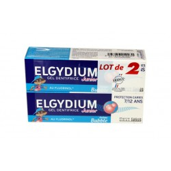 GEL DENTIFRICE BUBBLE PROTECTION CARIES JUNIOR LOT DE 2 X 50ML ELGYDIUM