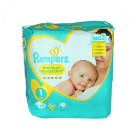 PREMIUM PROTECTION Taille 1 (2-5 KG) 22 COUCHES PAMPERS