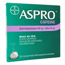 ASPRO CAFEINE 20 COMPRIMES SECABLES EFFERVESCENTS BAYER
