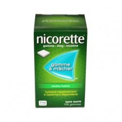 NICORETTE GOMMES SANS SUCRE MENTHE FRAICHE 2MG x105 JOHNSON & JOHNSON