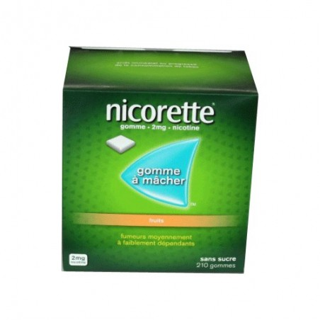NICORETTE GOMMES SANS SUCRE FRUITS 2MG x210 JOHNSON & JOHNSON