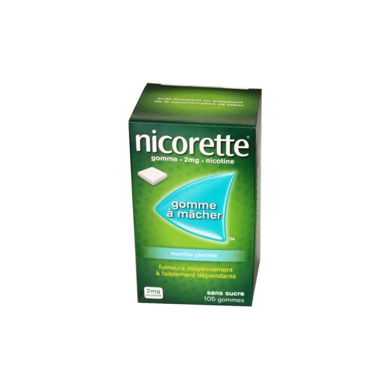 NICORETTE GOMMES SANS SUCRE MENTHE GLACIALE 2MG x105 JOHNSON & JOHNSON