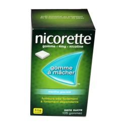 NICORETTE GOMMES SANS SUCRE MENTHE GLACIALE 4MG x105 JOHNSON & JOHNSON