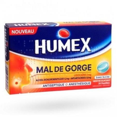 HUMEX MAL DE GORGE SANS SUCRE LIDOCAINE MENTHE GLACIALE 24 PASTILLES URGO
