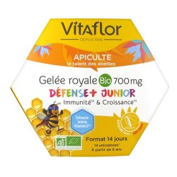 APICULTURE GELEE ROYALE BIO 700MG 14 UNIDOSES S VITAFLOR
