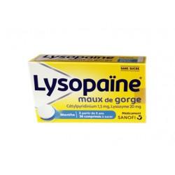 LYSOPAINE MENTHE SANS SUCRE MAUX DE GORGE APHTES SANOFI