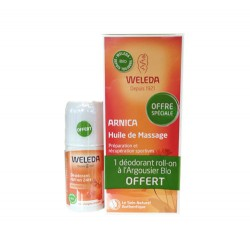 HUILE DE MASSAGE ARNICA 200ml + DEODORANT ROLL ON 50ml  OFFERT WELEDA