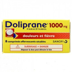 DOLIPRANE 1000MG ADULTE 8 COMPRIMES EFFERVESCENTS SECABLES SANOFI