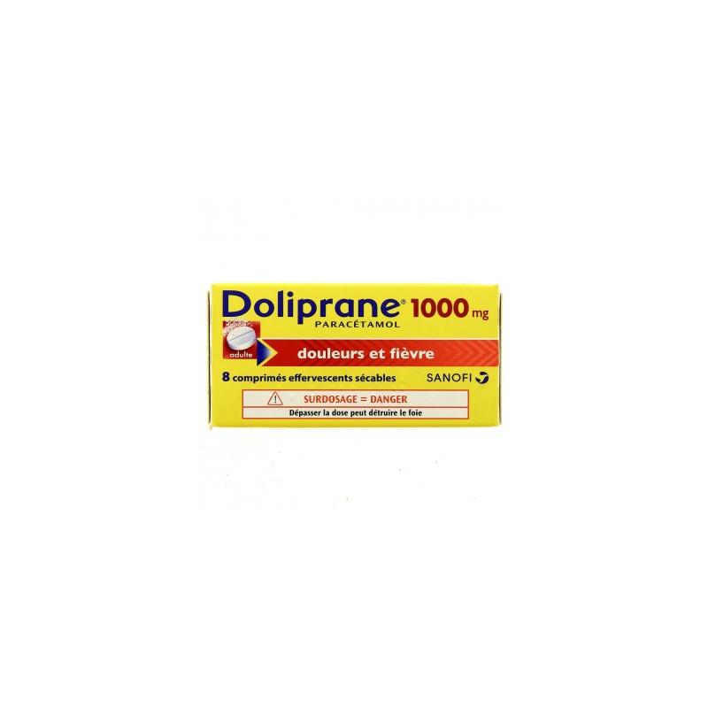 DOLIPRANE 1000MG ADULTE 8 COMPRIMES EFFERVESCENTS SECABLES SANOFI