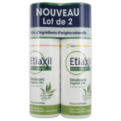 DEODORANT VEGETAL 24H Peau sensible LOT DE 2 X 100ML ETIAXIL