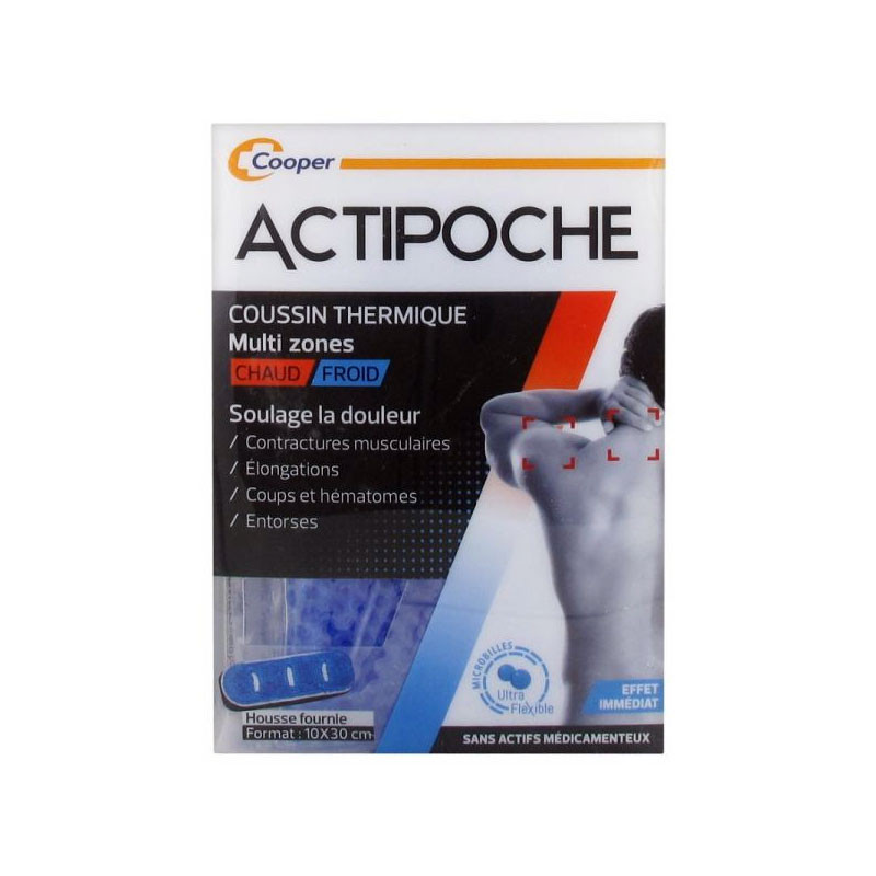 ACTIPOCHE COUSSIN THERMIQUE CHAUD FROID MULTI ZONES 10X30 CM COOPER