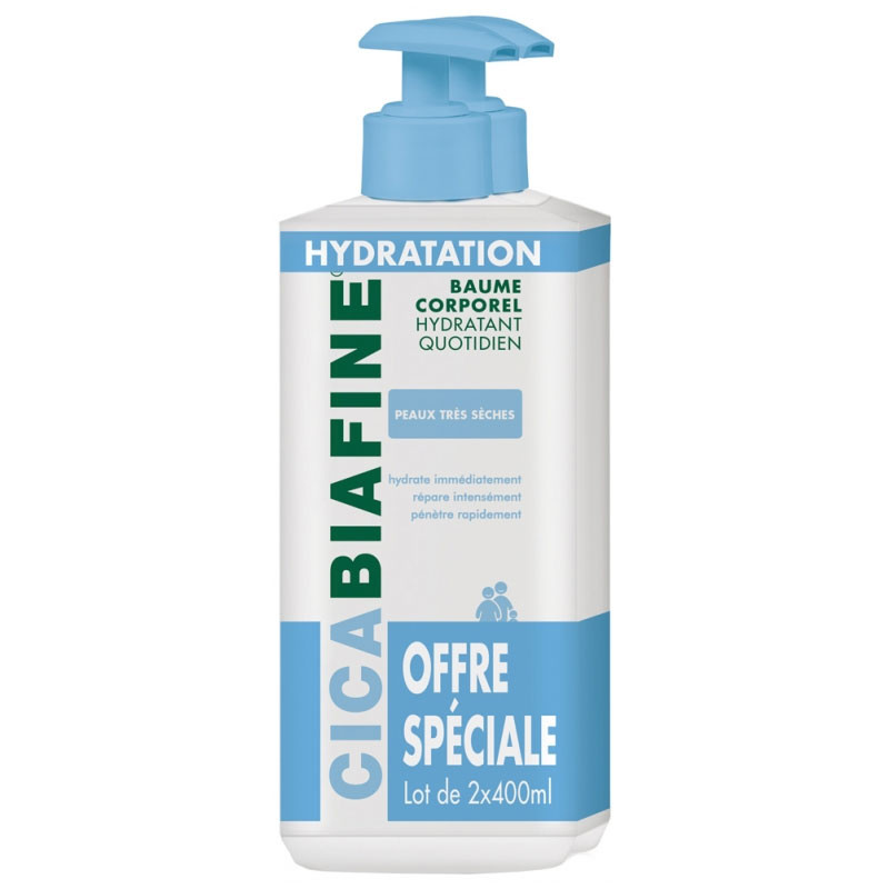 CICABIAFINE BAUME HYDRATANT CORPOREL QUOTIDIEN LOT DE 2 X 400 ml BIAFINE