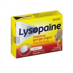 LYSOPAINE SANS SUCRE MAUX DE GORGE CITRON 18 pastilles SANOFI