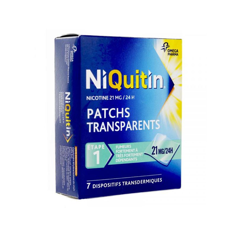 NIQUITIN NICOTINE 21MG/24H PATCHS TRANSPARENTS ETAPE 1 X 7 OMEGA PHARMA