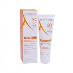 PROTECT FLUIDE SOLAIRE  INVISIBLE TRES HAUTE PROTECTION 50+ 40ML A-DERMA