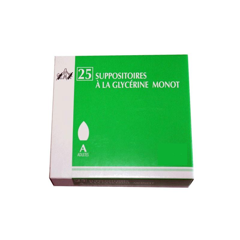 MONOT SUPPOSITOIRES A LA GLYCERINE ADULTES X 25