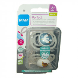 PERFECT SUCETTES BLANCHES 6MOIS+ LOT DE 2 SILICONE MAM