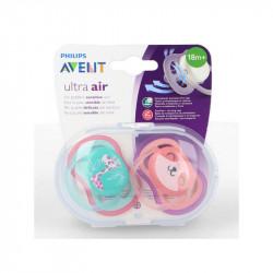 SUCETTES ULTRA AIR COLORIS ROSE/VERT 18 mois+ AVENT