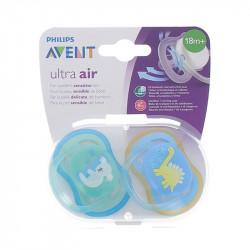 SUCETTES ULTRA AIR COLORIS BLEU/VERT 18 mois+ AVENT
