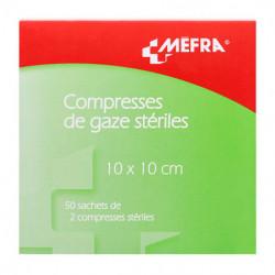 COMPRESSES STERILES DE GAZE HYDROPHILE 10X10CM X50 MEFRA