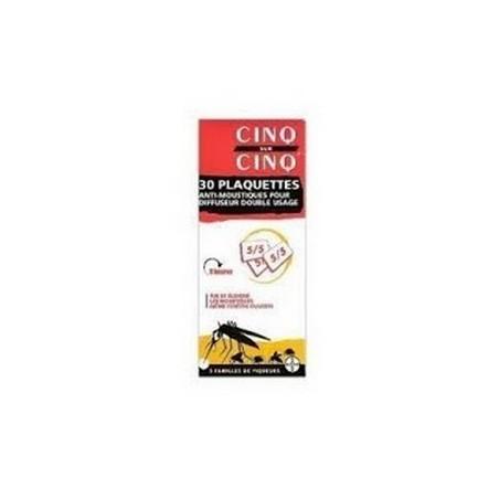 CINQ SUR CINQ RECHARGE 30 PLAQUETTES ANTI MOUSTIQUES 8 HEURES